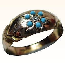 Lovely Victorian{Chester 1895} 15ct Solid Gold Diamond + Turquoise Gemstone Cluster Ring