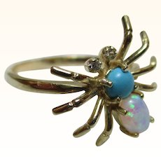 Pretty Vintage 9ct Solid Gold Opal, Turquoise + Cubic Zirconia Gemstone 'Spider' Ring