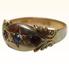 Decorative Antique{Chester 1913} 18ct Solid Gold 3-Stone Ruby + Moonstone Gemstone Ring