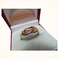 Decorative Antique{Birmingham 1913} 18ct Solid Gold 5-Stone Diamond + Ruby Gemstone Ring