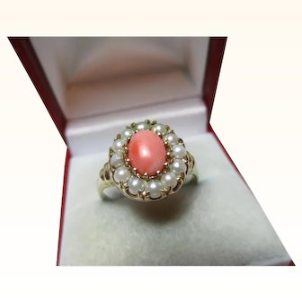 Attractive 9ct Solid Gold Orange Coral + Split Seed-Pearl Gemstone Cluster Ring