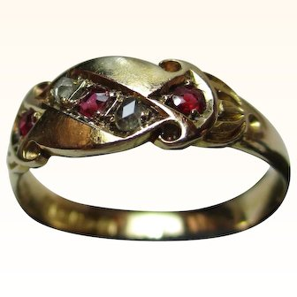 Quality Victorian{Chester 1897} 18ct Solid Gold 5-Stone Diamond + Ruby Gemstone Ring