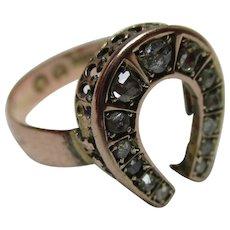Attractive Victorian{London 1895} 9ct Solid Rose Gold Diamond Gemstone 'Horseshoe' Ring