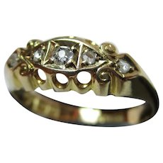 Attractive Edwardian{Chester 1908} 18ct Solid Gold 5-Stone Diamond Gemstone Ring