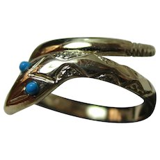 Attractive Vintage 9ct Solid Gold Turquoise Gemstone 'Snake' Ring