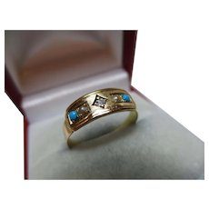 Attractive Victorian{Birmingham 1887} 18ct Solid Gold Diamond, Turquoise + Split Seed-Pearl Gemstone Ring