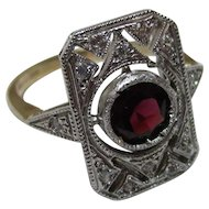 Pretty Vintage 9ct Yellow + White Solid Gold 'Deco Style' Garnet + Cubic Zirconia Gemstone Ring