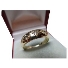 Attractive Early Edwardian{Birmingham 1901} 18ct Gold 3-Stone Diamond Gemstone Ring