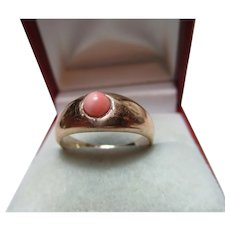 Quality Antique{Chester 1912} 9ct Solid Gold Orange Coral Solitaire Gemstone Ring{5.5 Grams}