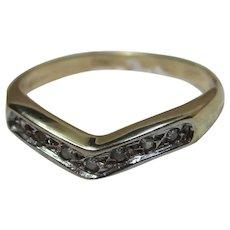 Pretty Vintage 9ct Solid Gold 7-Stone Diamond Gemstone 'Wishbone' Ring