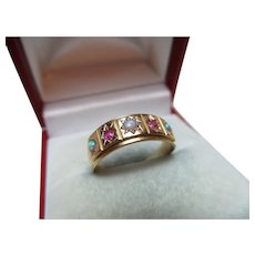 Attractive Antique 15ct Solid Gold 5-Stone Ruby + Opal Gemstone Ring