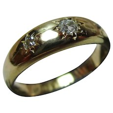 Quality Antique 18ct Solid Gold 3-Stone Diamond Gemstone Ring{2.8 Grams}{0.1Ct Diamond Weight}