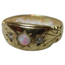 Ornate Edwardian{Chester 1909} 18ct Solid Gold 3-Stone Diamond + Opal Gemstone Ring