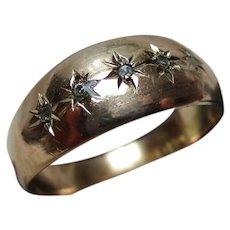 Decorative Antique 9ct Gold 5-Stone Diamond Gemstone Ring