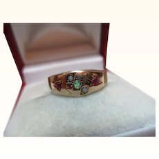 Attractive Victorian{Chester 1888} 9ct Solid Gold Emerald, Ruby + Split Seed-Pearl Gemstone 'Suffragette' Ring