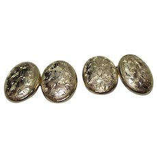 Gents' Victorian{Birmingham 1896} 9ct Solid Gold 'Foliate Engraved' Chain-Link Cufflinks{4.0 Grams}