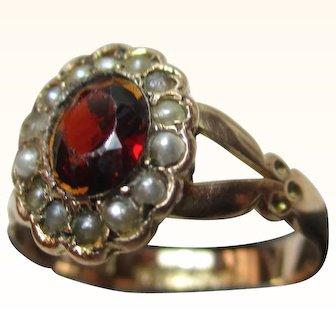 Pretty Antique{Birmingham 1916} 9ct Solid Rose Gold Garnet + Split Seed-Pearl Cluster Ring