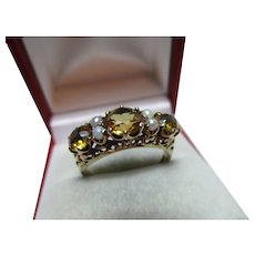 Decorative Vintage{London 1962} 9ct Solid Gold 7-Stone Citrine + Full Seed-Pearl Gemstone Ring{3.4 Grams}