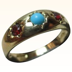 Decorative Vintage 9ct Solid Gold 3-Stone Turquoise + Garnet Gemstone Ring