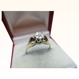 Attractive Vintage{London 1979} 9ct Solid Gold Diamond Solitaire Gemstone Ring