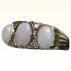 Attractive Vintage{London 1976} 9ct Solid Gold 7-Stone Diamond + Opal Gemstone Ring{3.1 Grams}