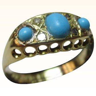 Decorative Edwardian{Birmingham 1909} 18ct Solid Gold 7-Stone Diamond+Turquoise Gemstone Ring