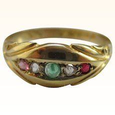Victorian{Chester 1898} 15ct Solid Gold 5-Stone Diamond, Emerald + Ruby Gemstone 'Suffragette' Ring