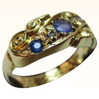 Decorative{Birmingham 1919} 18ct Solid Gold 5-Stone Diamond + Sapphire Gemstone Ring