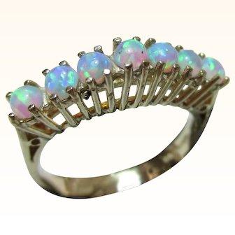 Pretty Vintage 9ct Solid Gold 7-Stone Opal Gemstone 'Half Eternity' Ring