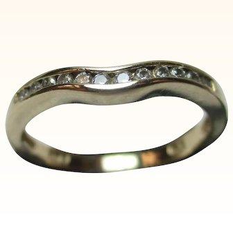 Pretty Vintage 14ct Solid Gold 12 Stone Diamond Gemstone 'Wishbone' Ring