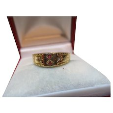 Decorative Edwardian{Chester 1903} 18ct Solid Gold 4-Stone Diamond + Ruby Gemstone Ring