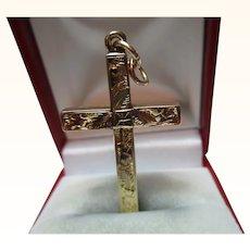 Decorative Antique 9ct Gold Fine Engraved 'Crucifix' Pendant