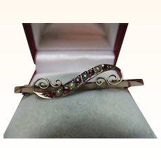 Pretty Edwardian{Chester 1905} 9ct Rose Gold Ruby + Split Seed-Pearl Gemstone Bar Brooch