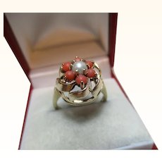 Attractive Vintage{London 1968} 9ct Solid Gold Orange Coral + Split Seed-Pearl Gemstone Cluster Ring{4.3 Grams}