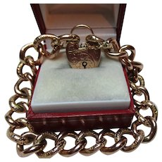 Superb Antique 9ct Gold, Part Engraved Bracelet With Padlock + Safety Chain{20.4 Grams}