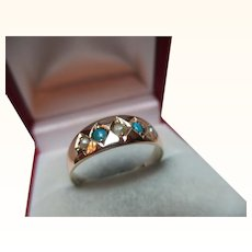 Decorative Victorian{Chester 1882} 9ct Solid Gold 5-Stone Turquoise + Split Seed-Pearl Gemstone Ring