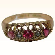 Decorative Antique{Birmingham 1915} 18ct Solid Gold 5-Stone  Diamond + Ruby Gemstone Ring