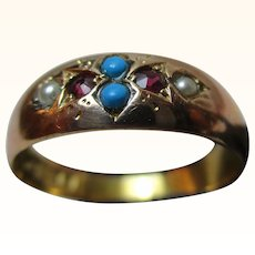 Quality Victorian{Chester 1892} 15ct Solid Gold 6-Stone Ruby, Turquoise + Split Seed-Pearl Gemstone Ring