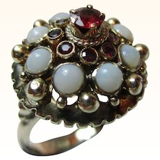 Charismatic Antique 14ct Solid Gold Ruby + Opal Gemstone 'Pagoda' Ring{5.0 Grams}