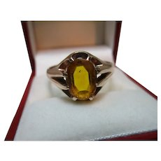 Decorative Vintage 9ct Solid Gold Oval Shaped Citrine Gemstone Ring{5.3 Grams}