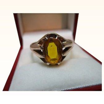 Decorative Vintage 9ct Solid Gold Oval Shaped Citrine Gemstone Ring{5.3 Grams}