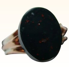 Victorian{Chester 1895} 9ct Solid Rose Gold 'Oval Shaped' Bloodstone Gemstone Ring{3.7 Grams}