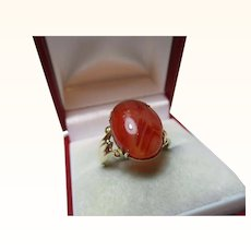 Superb Antique 15ct Solid Gold 'Oval Shaped' Agate Gemstone Ring{3.5 Grams}