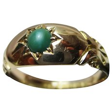 Quality Edwardian{Chester 1908} 18ct Solid Gold Turquoise Solitaire Gemstone Ring{3.7 Grams}