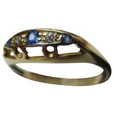 Decorative{Birmingham 1920} 18ct Solid Gold 5-Stone Diamond + Sapphire Gemstone Ring