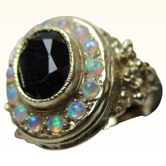 Pretty 9ct Solid Gold Dark Sapphire + Opal Gemstone Cluster Ring{5.5 Grams}