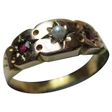 Ornate Victorian{Chester 1893} 15ct Solid Gold 3-Stone Ruby + Full Seed-Pearl Gemstone Ring