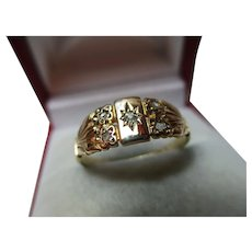 Quality Antique 18ct Solid Gold 5-Stone Diamond Gemstone Ring
