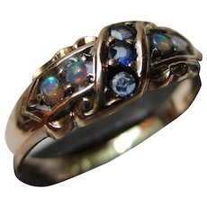Charismatic Edwardian{Chester 1903} 9ct Solid Rose Gold Sapphire + Opal Gemstone Ring