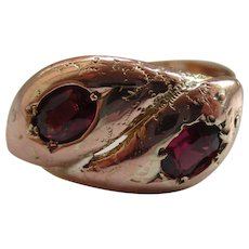 Decorative Antique 9ct Solid Rose Gold Almandine Garnet Gemstone 'Double' Snake Ring{3.8 Grams}